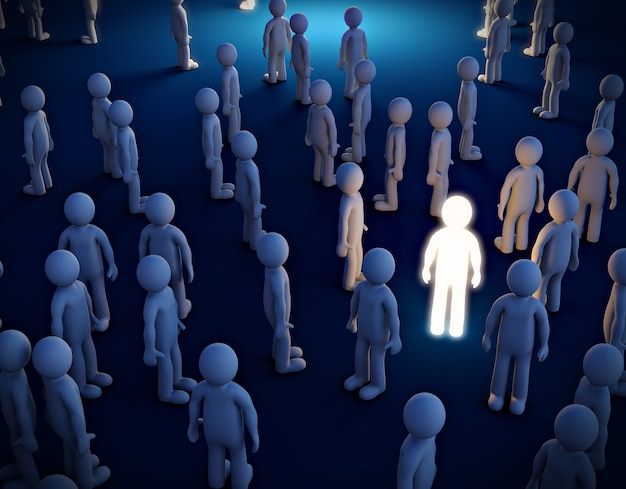 Lichtgevende man in de menigte