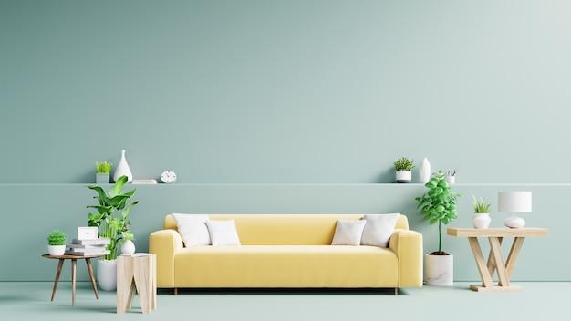 Lichtgroen woonkamerbinnenland met gele stoffenbank, lamp en installaties op leeg.