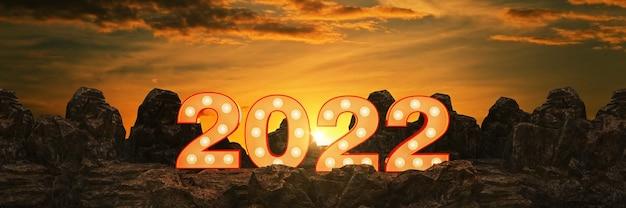 Lichtkrant 2022 letterteken nieuwjaar 2020 3d-rendering