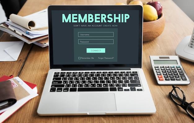 Lid inloggen lidmaatschap gebruikersnaam wachtwoord concept