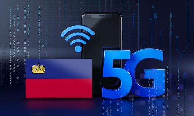 Liechtenstein klaar voor 5g-verbindingsconcept. 3d-rendering smartphone technische achtergrond