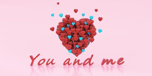 Liefde concept. hart van kleine harten op pastel roze achtergrond, 3d-rendering