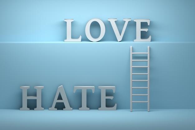 Liefde haat concept met gewaagde woorden