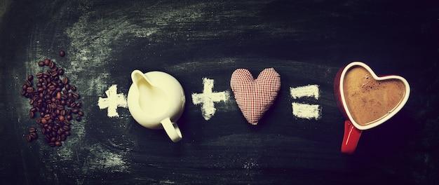 Liefde of valentijnsdag concept. ingrediënten voor koffie met nat