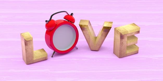 Liefde word met klok op houten achtergrond. 3d-rendering