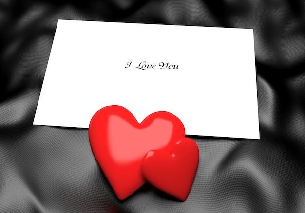 Liefdesbrief met hoort op zwarte zijden doek