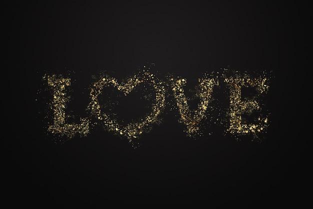 Liefdesbrief van gouden confetti, zwart goud.