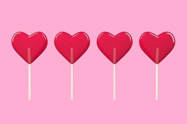 Liefdesconcept. red heart lollipop candy op een roze achtergrond. 3d-rendering
