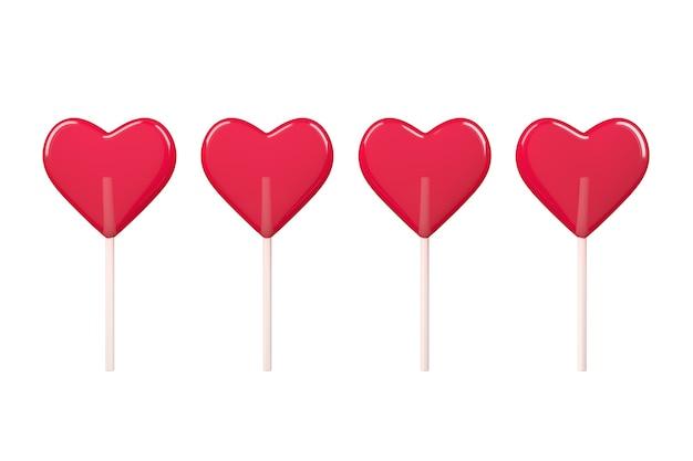 Liefdesconcept. red heart lollipop candy op een witte achtergrond. 3d-rendering