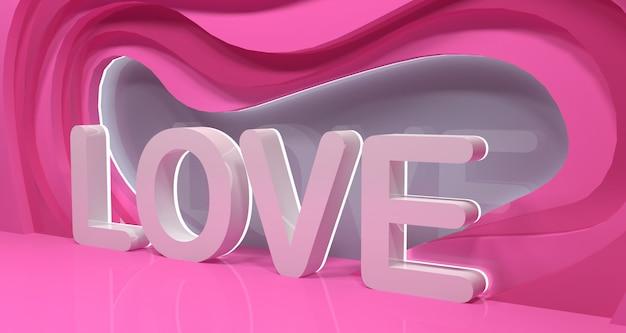 Liefdewoord in 3d met abstracte roze vormen