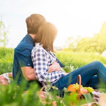 Liefjes met leuke tijd op picknick op het veld