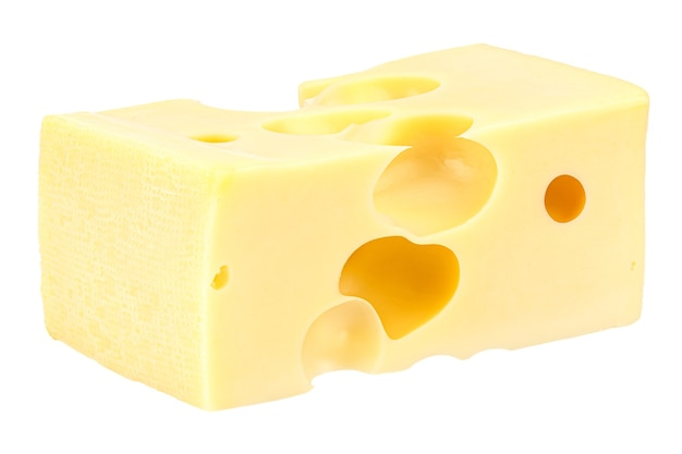Liggend rechthoekig stuk maasdammer kaas geïsoleerd op een witte achtergrond