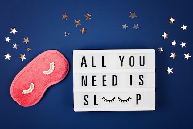 Lightbox met citaat alles wat je nodig hebt is slapen