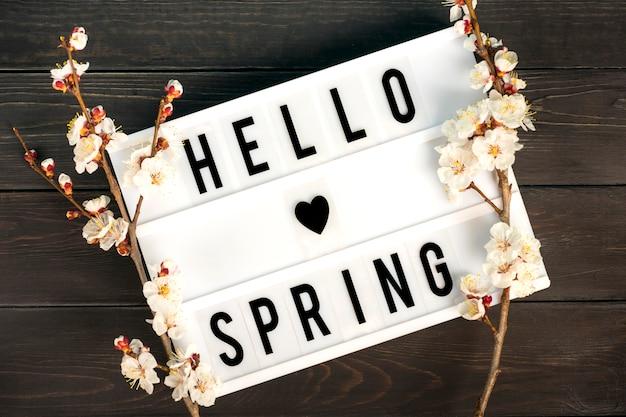 Lightbox met citaat hallo lente en takjes van de abrikozenboom met bloemen
