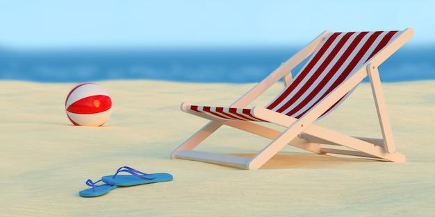 Ligstoel, bal en paar slippers op het strand met de zee erachter