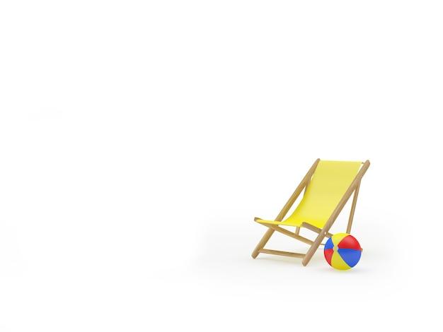 Ligstoel en strandbal met ruimte voor tekst