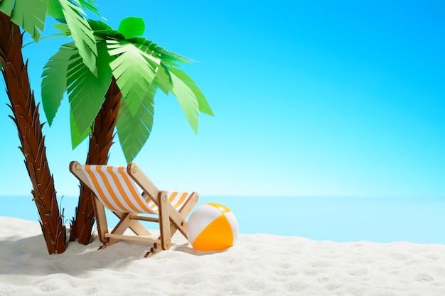 Ligstoel en strandbal onder een palmboom aan de zandkust met kopieerruimte