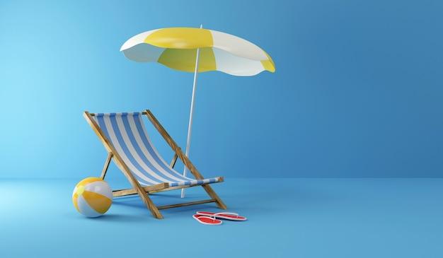 Ligstoel met zonnescherm en strandbal in kleur