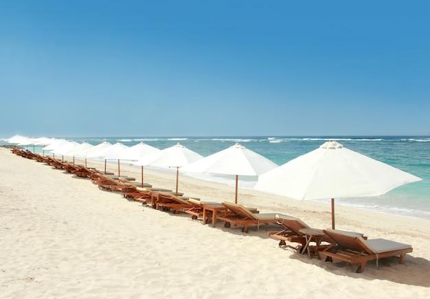 Ligstoelen en parasols op het strand