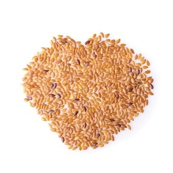 Lijnzaad gezond voedsel dat op een wit wordt geïsoleerd.