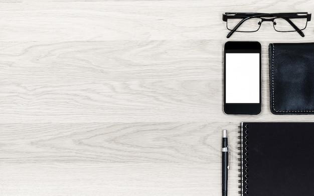 Lijst van de bedrijfsbureau de lichtbruine houten textuur.