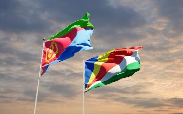 Lijst van vlaggen van de seychellen en eritrea op hemelachtergrond