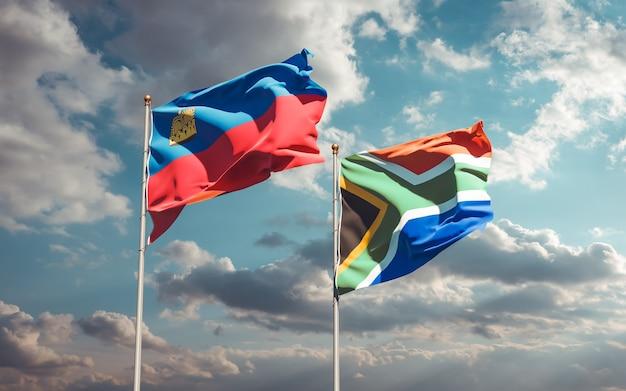 Lijst van vlaggen van liechtenstein en sar-afrikaanse op blauwe hemel. 3d-illustraties