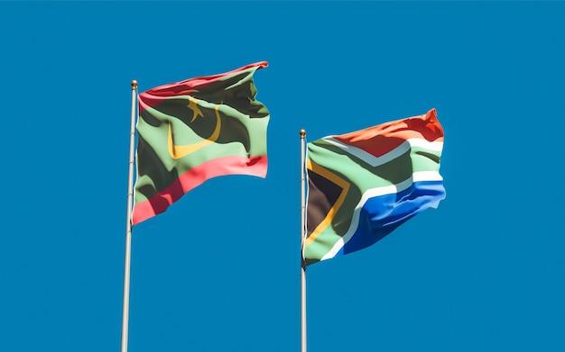 Lijst van vlaggen van mauritanië en sar afrikaanse op blauwe hemel. 3d-illustraties