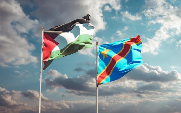 Lijst van vlaggen van palestina en dr congo op blauwe hemel. 3d-illustraties