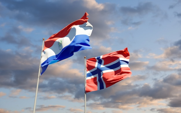 Lijst van vlaggen van paraguay en noorwegen. 3d-illustraties