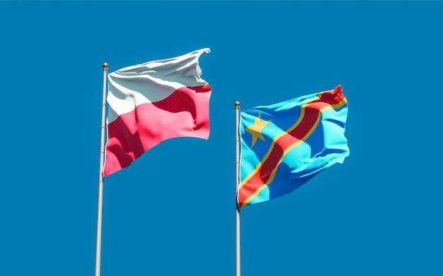 Lijst van vlaggen van polen en de dr congo op blauwe hemel. 3d-illustraties