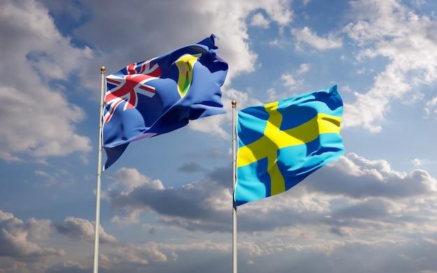 Lijst van vlaggen van turks- en caicoseilanden en zweden op blauwe hemel. 3d-illustraties