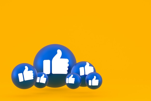 Like icon facebook reacties emoji 3d render, social media ballonsymbool op geel