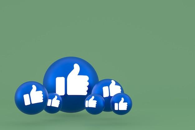Like icon facebook reacties emoji 3d render, social media ballonsymbool op groen