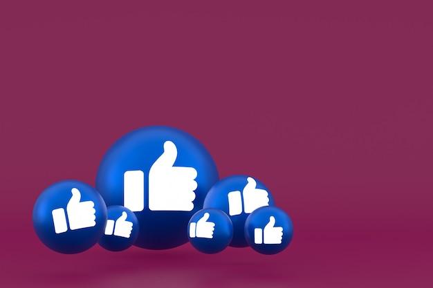 Like icon facebook reacties emoji renderen, social media ballonsymbool op rode achtergrond