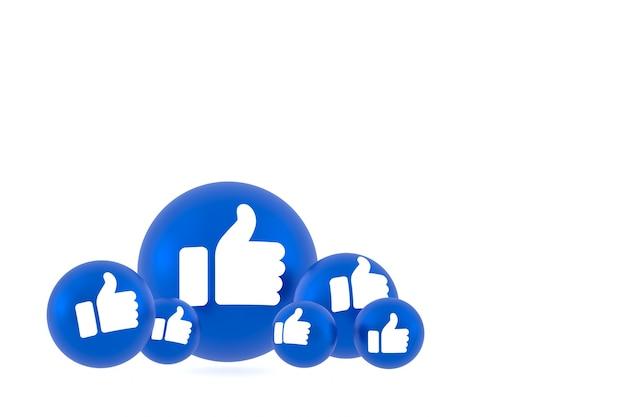 Like icon facebook reacties emoji renderen, social media ballonsymbool op witte achtergrond