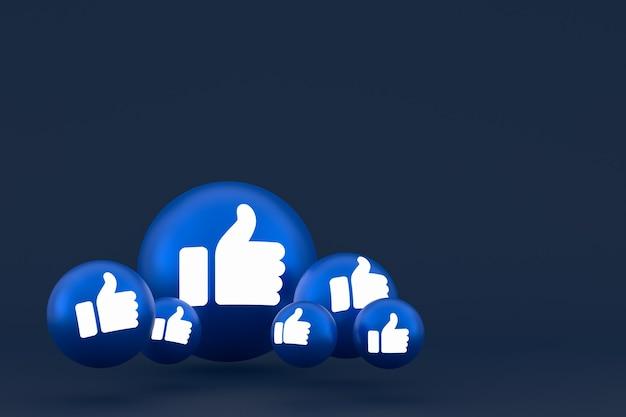 Like icon facebook reacties emoji renderen, sociale media ballonsymbool op blauwe achtergrond