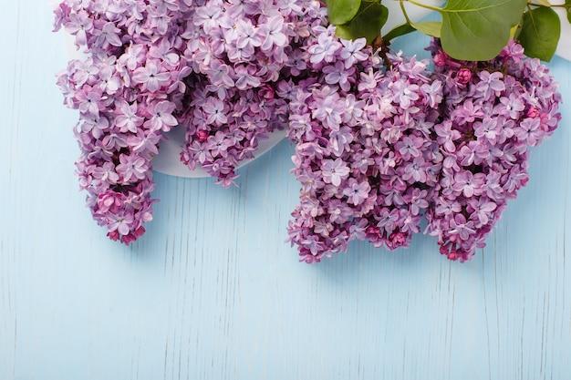 Lila takken op een blauwe houten achtergrond