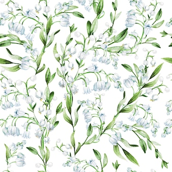 Lily of the valley bloemen aquarel illustratie print patroon