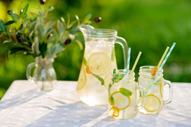 Limonade verfrissend drankje in een kruik en potten met citroenen, verse munt en ijs op een tuintafel. zomerpicknick buitenshuis. kopieer ruimte. zachte selectieve focus.