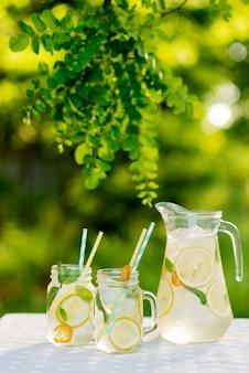 Limonade verfrissend drankje in een kruik en potten met citroenen, verse munt en ijs op een tuintafel. zomerpicknick buitenshuis. zachte selectieve focus.