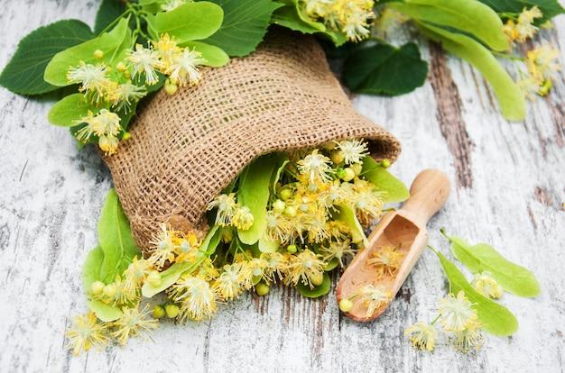 Linden bloemen op de tafel