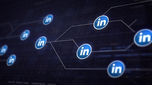 Linkedin icon line connection van circuit board