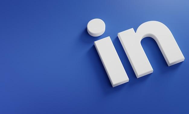 Linkedin logo minimal simple design template. kopieer space 3d