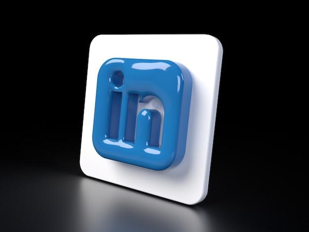 Linkedin vierkant logo pictogram 3d premium foto 3d glanzende matte weergave