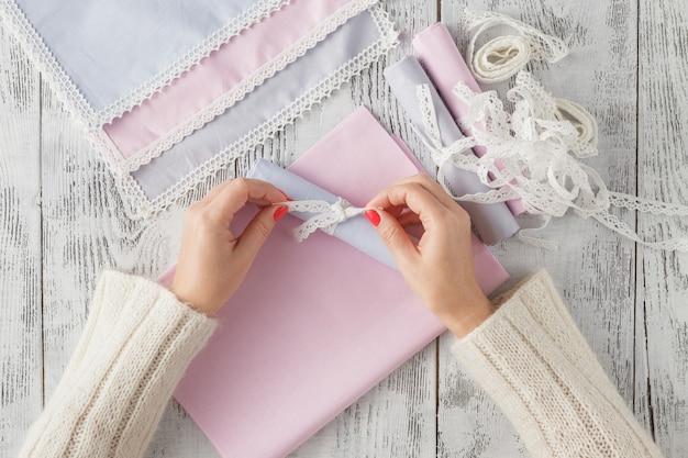 Lint boog geschenk bloem handgemaakte ambachtelijke hand vouw streep decoratie