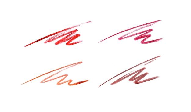 Lippenpotloodstreken in verschillende tinten op wit