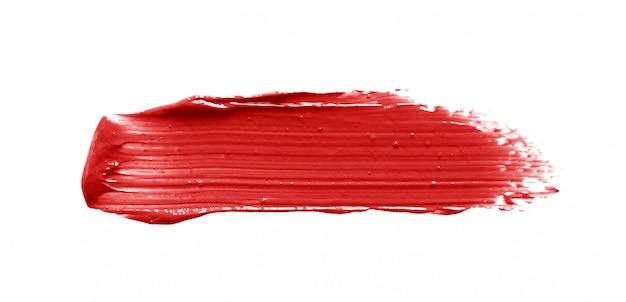 Lippenstift penseelstreek geïsoleerd op wit
