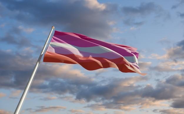 Lipstick lesbian vlag. 3d-illustraties