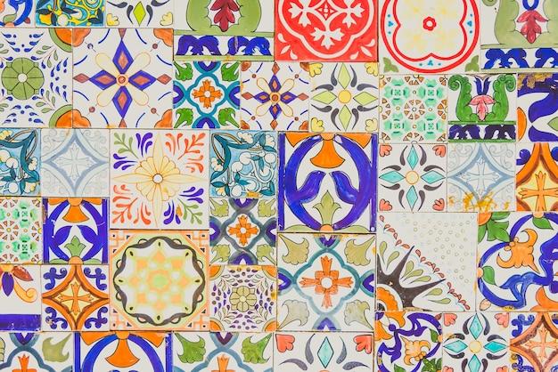 Lissabon muur textuur bloemen marokkaans